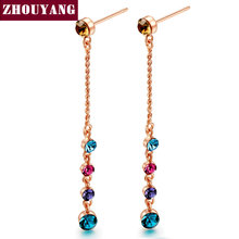 Mmulticolour Crystal Rose Gold Color Stud Earrings For Women Wedding Jewelry Wholesale Top Quality ZYE715 E714