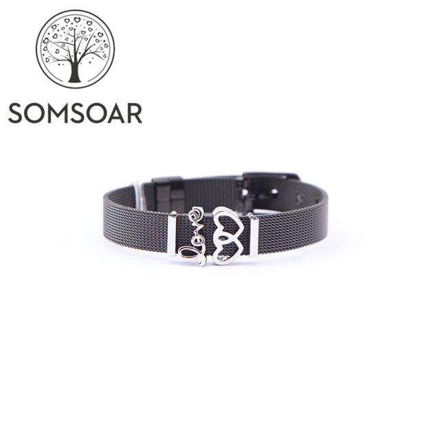 Somsoar Jewelry Black Soulmate Mesh Bracelet Set Love Is In The Air Charms Stainless Steel Bangle