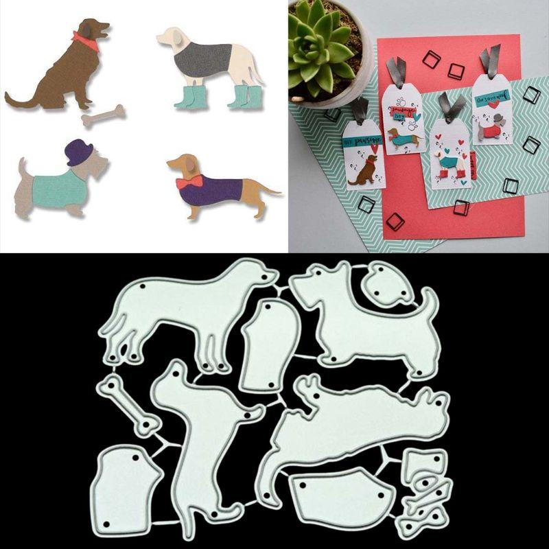 Cute Dogs Cutting Dies DIY Metal Stencil Scrapbooking Album Stamp Paper Card