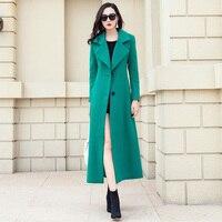 Новые модные Дизайн Англия Стиль Шерстяное пальто женский костюм воротник длинные шерстяные пальто однобортный тонкий зимнее пальто Для ж