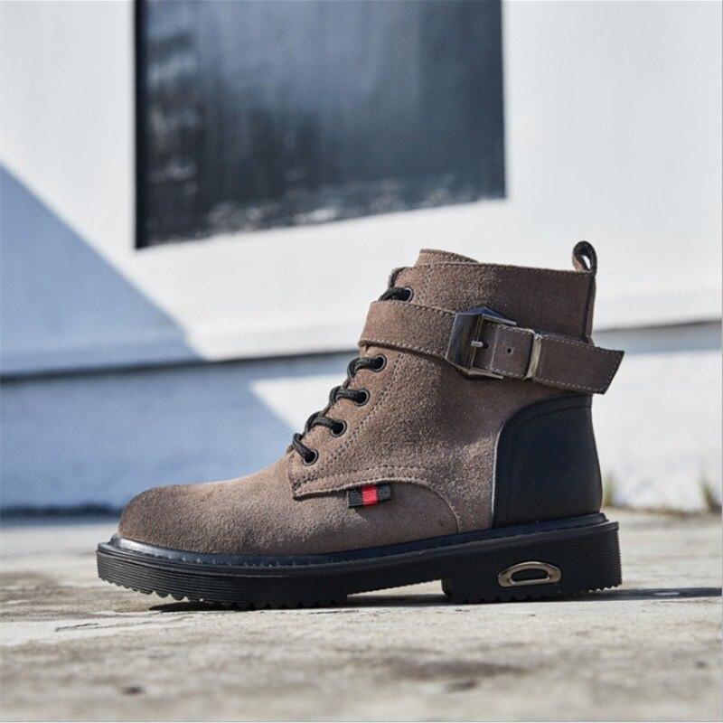 Occasionnels Noir Bien Britannique Boot Vente En Femmes Mode Martin Automne Cuir Véritable marron Chaussures Respirant Vent gris Hiver Bottes Dames Rétro Femme Nouvelle qCxRwA8F4