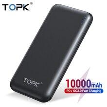 TOPK Power Bank 10000mAh carga rápida 3,0 USB tipo C PD carga rápida Powerbank cargador de batería externa portátil para Xiaomi
