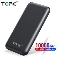 TOPK Power Bank 10000mAh szybkie ładowanie 3.0 rodzaj usb C PD powerbank do szybkiego ładowania przenośna bateria zewnętrzna ładowarka banku dla Xiaomi