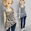 Bjd baby clothes dod . as . dz . sd doll printing vest shirt for 1/3 1/4 BJD doll cloth