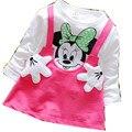 Muchachas de la princesa Niños Vestido de niña de Dibujos Animados de Manga Larga de Algodón Vestidos de Fiesta para niños 2017 Nueva Minnie Mouse Vestido de Algodón