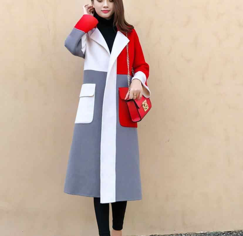 Spring new elegant contrast color lapels long wool coat women autumn winter high quality blend long-sleeved blazer warm outwear