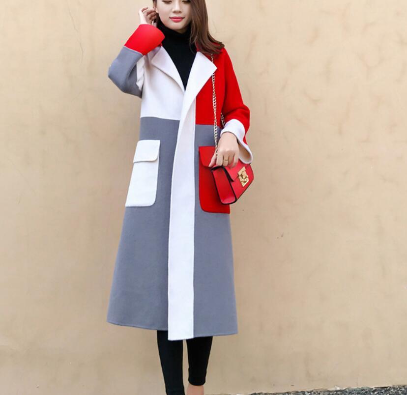 Printemps nouveau contraste élégant couleur revers long laine manteau femmes automne hiver haute qualité mélange à manches longues blazer vêtements d'extérieur
