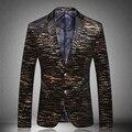 Chaqueta para hombre 2017 Nuevos Hombres Blazers Moda Casual Diseñador de la Marca de Pavo Real Traje Homme Hombres chaqueta Chaquetas Impresas JP116-7777