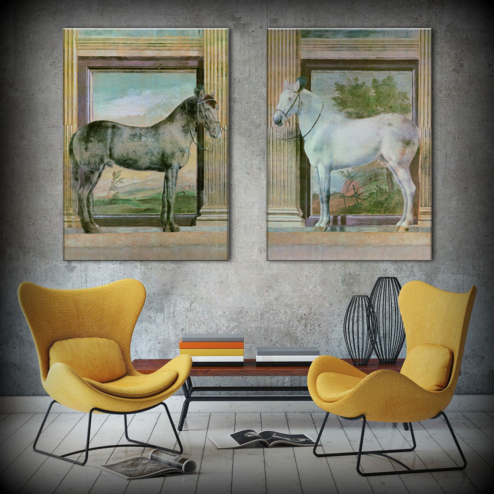 Hot sells 2panels one set Painting Canvas horse art Home Decoration Modern oil Painting
