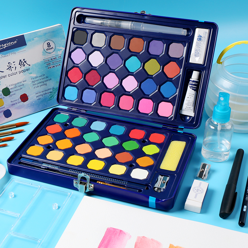 High Quality Solid Watercolor Paint Set Students Portable Watercolor Tool Set Iron Box Powder Pigment Drawing Art Supplies in Water Color from Office School Supplies