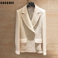 White Shawl Collar Longline Tweed Blazer Office Ladies Long Sleeve Frayed Trim Beading Button Blazer Women Elegant Outerwear