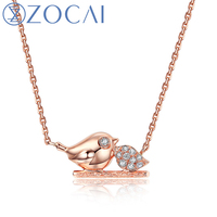 ZOCAI The Little Magpie Real 0.03 CT Diamond Necklace 18K Rose Gold (Au750) Pendent Necklace JBD90281T