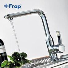 FRAP 1 Satz Verchromt Küchenarmatur Einzigen Handgriff Torneira Kalt-und Warmwasser Mixer Rechten Winkel-design F4076