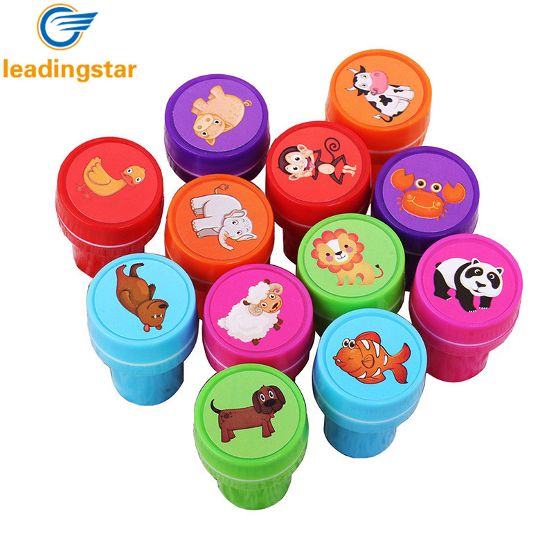 LeadingStar 12 pcs / lot Facial Animal Pattern Rubber Stamps for Scrapbooking Leaning Education Drawing Toys Gifts for Kids