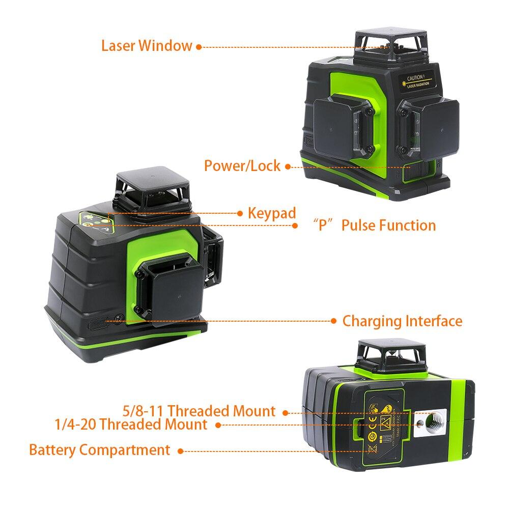 Image 3 - Huepar 12 líneas 3D Cruz Rayo verde láser de línea nivel autonivelante 360 grados Vertical y Horizontal carga USB con gafasNiveles láser   -