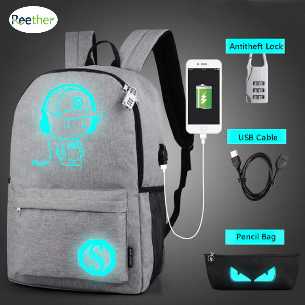 Reether Luminous Usb Charge Port School Student Bookbags Computer Glow In Dark Laptop Bag Men Travel Backpack Mochila Feminina
