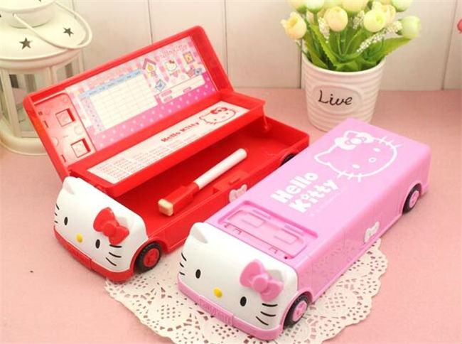 lovely cartoon hello kitty pencil box car shape fashion big capacity school supplies pencil cases for kids gift in pencil cases from office school
