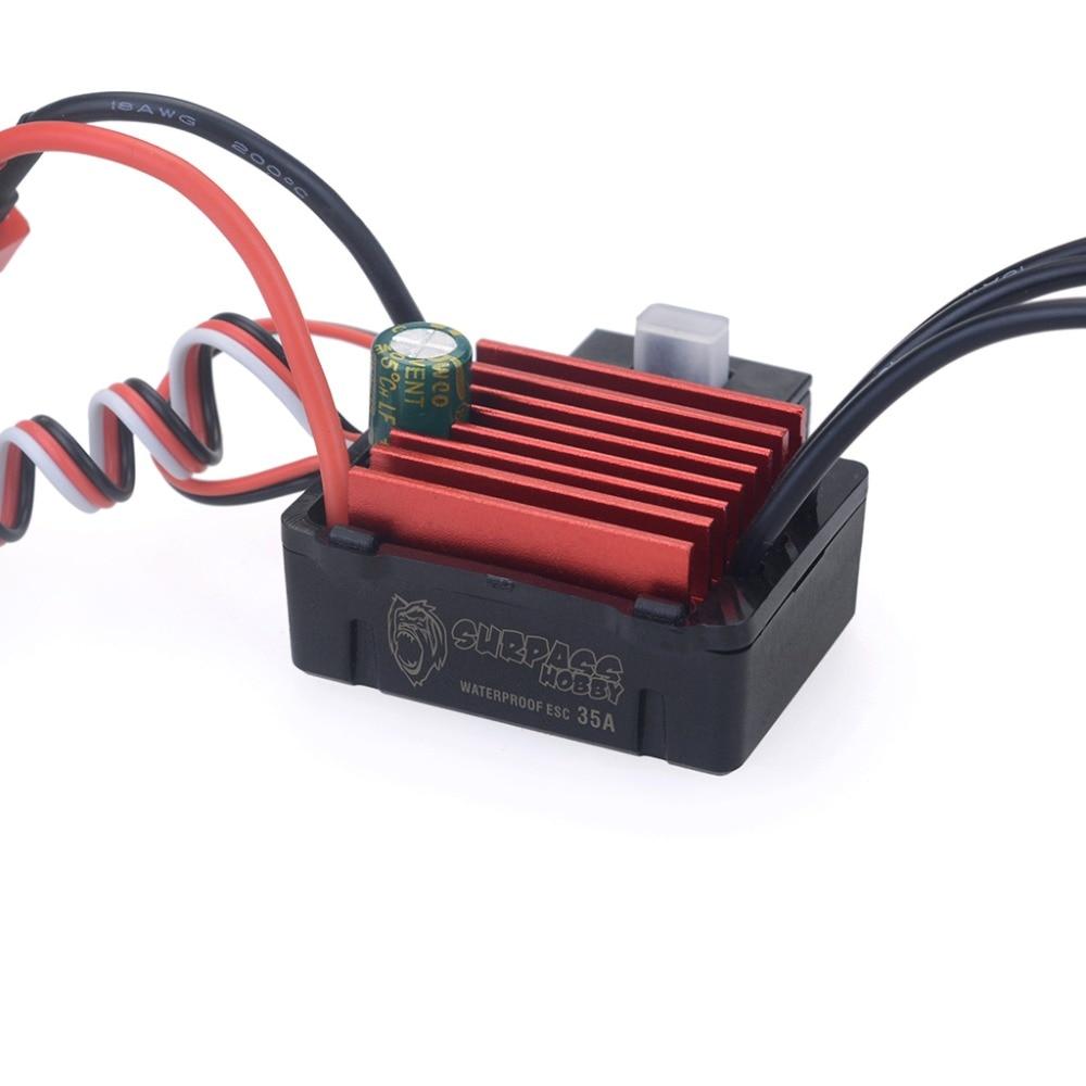 SURPASSHOBBY KK 35A ESC Waterproof Electric Speed Controller for RC 1//16 1//14 RC Car 2838 2845 Brushless Motor