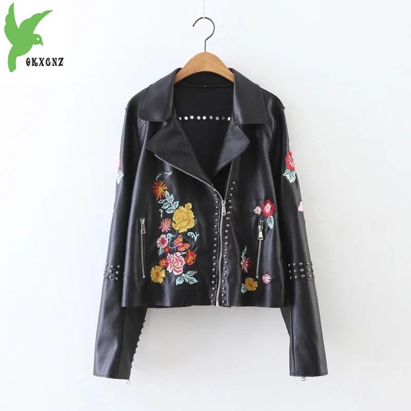 New Autumn Winter Women PU   Leather   Jacket European Fashion Embroidery Rivets Casual Tops Black Short Style Lady Coat OKXGNZ A762
