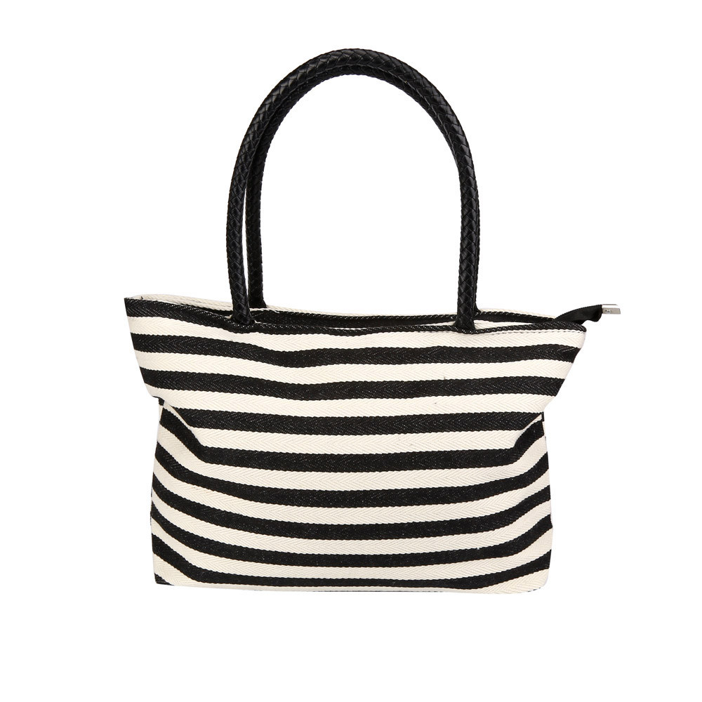 Black and White Striped Tote Promotion-Shop for Promotional Black ...