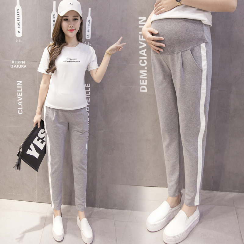 Autumn Fashion Maternity Sport Pants Elastic Waist Belly Casual Trousers Clothes for Pregnant Women Pregnancy Pants