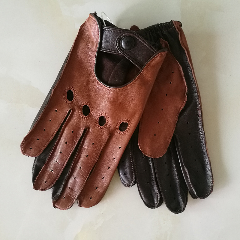 Real Leather Man's Gloves Spring Summer Thin Unlined Breathable Non-Slip Locomotive Motorcycle Driving Gloves Male M023W-1