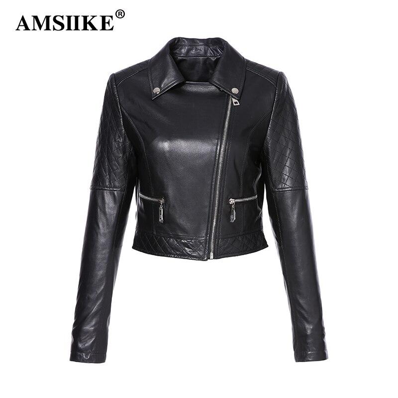 d770cf88959 AMSIIKE Women s Coat 2018 Genuine Sheepskin Leather New Outerwear Black  Short Jackets Lapel Collar Coats chaqueta