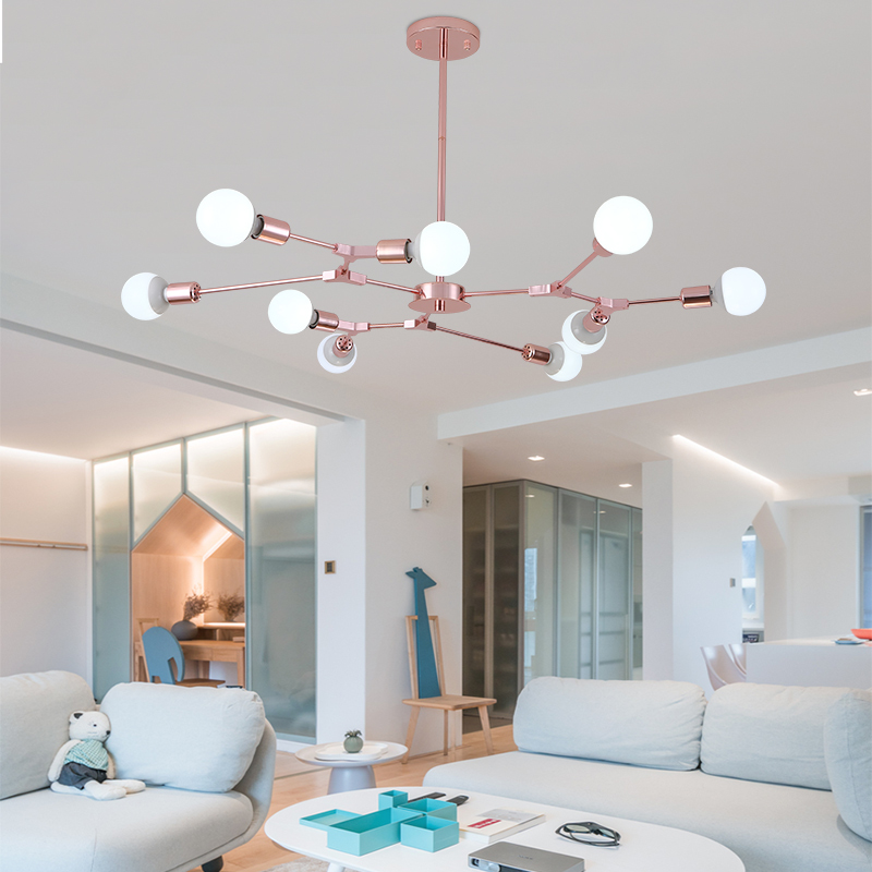 Rose gold Modern LED Chandelier Nordic Style Living Room Dining Room Pendant Hanging Light Home Decoration Lighting E27 Base Rose gold Modern LED Chandelier Nordic Style Living Room Dining Room Pendant Hanging Light Home Decoration Lighting E27 Base