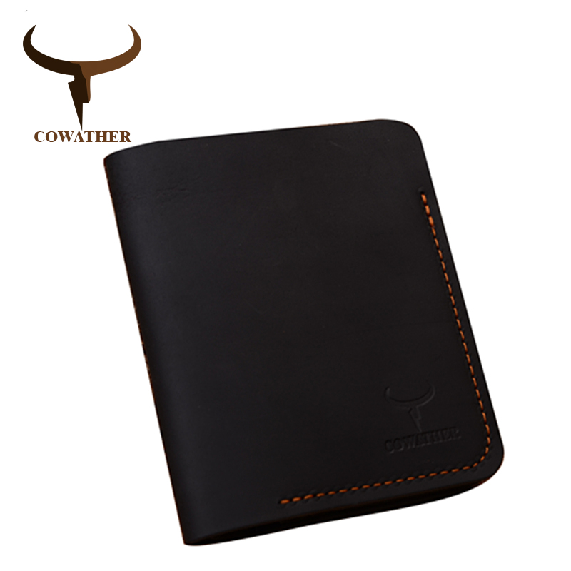 COWATHER 2017 100% cow genuine leather men wallets vertical style Crazy horse leather newest desgin male purse 113 free shipping cowather new 100