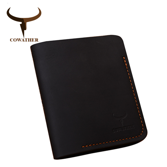 COWATHER 2019 100% cow genuine leather men wallets vertical style Crazy horse leather newest desgin male purse 113 free shipping