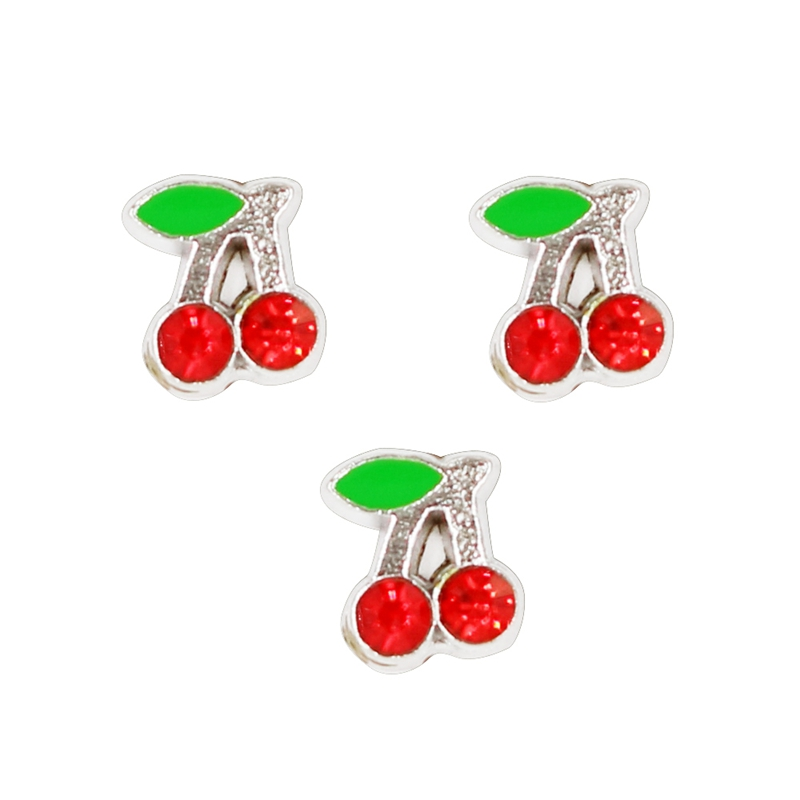 60PCS Cute Red Rhinestone Cherry Alloy Floating Charms Fit Glass Locket Charms DIY Jewelry Accessories
