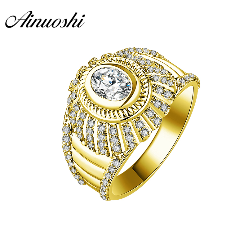AINUOSHI Luxury 14K Solid Yellow Gold Men Ring Delicate CZ Wedding Band 1CT Oval Cut SONA Diamond Wide Band Male Wedding JewelryAINUOSHI Luxury 14K Solid Yellow Gold Men Ring Delicate CZ Wedding Band 1CT Oval Cut SONA Diamond Wide Band Male Wedding Jewelry