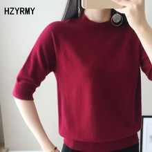 HZYRMY Spring New Short-sleeved Women's Cashmere Sweater Fashion Loose O-neck High quality Summer Solid color Wool knit pullover цена