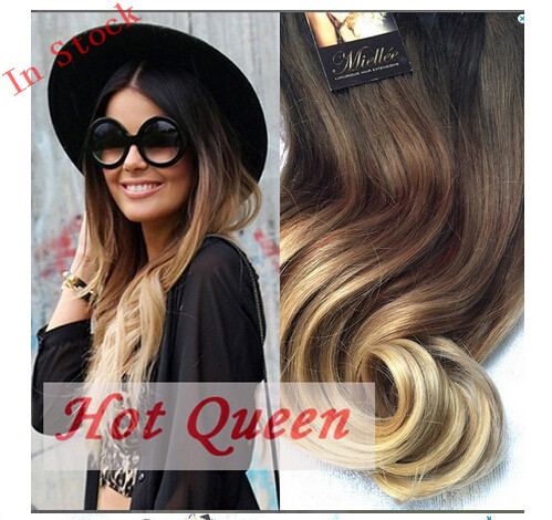 Hot sale 2014 fashion brownblonde ombre hair extension 7clipset hot sale 2014 fashion brownblonde ombre hair extension 7clipset 70 gram body wavy clip pmusecretfo Images