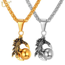 U7 Punk Rock Mens Necklace Men Jewelry Stainless Steel Chain Gold Color Myth Evil Dragon Ball Necklaces & Pendants  P747