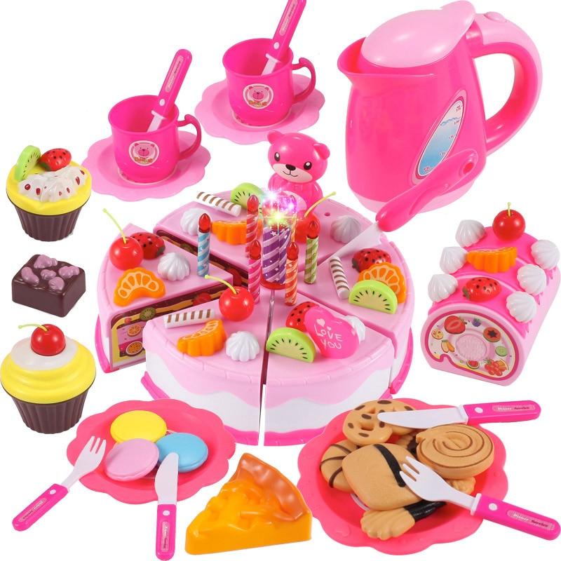 37-80Pcs DIY Pretend Play Fruit Cutting Birthday Cake Kitchen Food Toys Cocina De Juguete Toy Pink Blue Girls Gift For Children