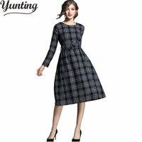 New Autumn Winter Woolen Dress Women Office Dress Office Plaid Gray Vestidos