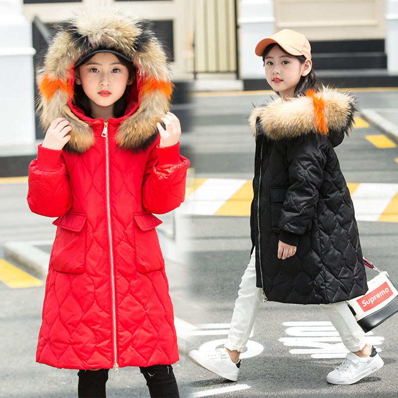 -30 degrees Winter Down Children Girls Thickened Parka Real Fur Collar Coat Hooded Children Outerwear Girl Clothing warm jacket 2018 girls clothing warm down jacket for girl clothes 2018 winter thicken parka real fur hooded children outerwear snow coats