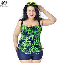 2XL 6XL Super Big size Women Tankinis Set Halter Plus size Swimwear Female Split Swimsuit Printing