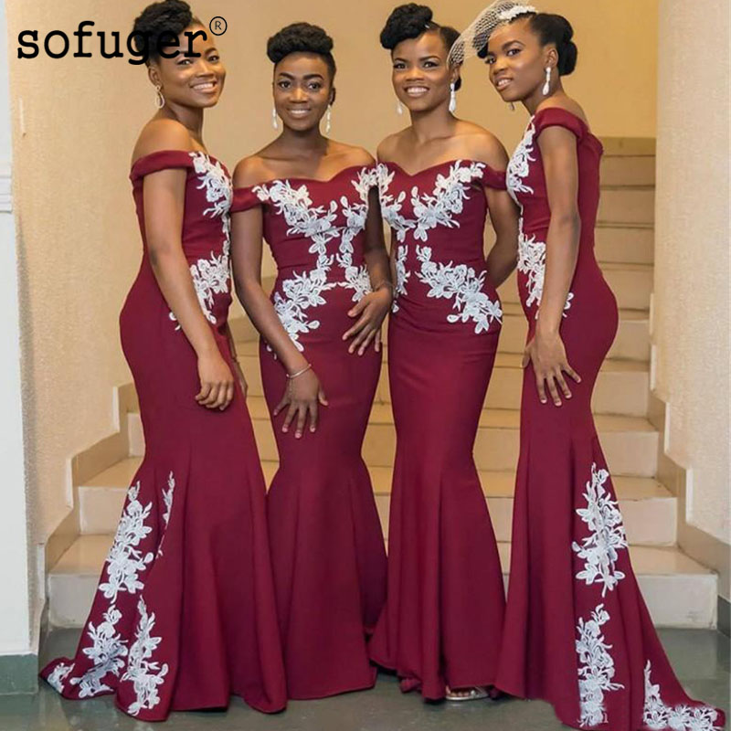 Burgundy Exquisite Appliques Off The Shoulder Mermaid Special Occasion   Bridesmaid     Dress   Formal Vestidos Wedding Party   Dresses