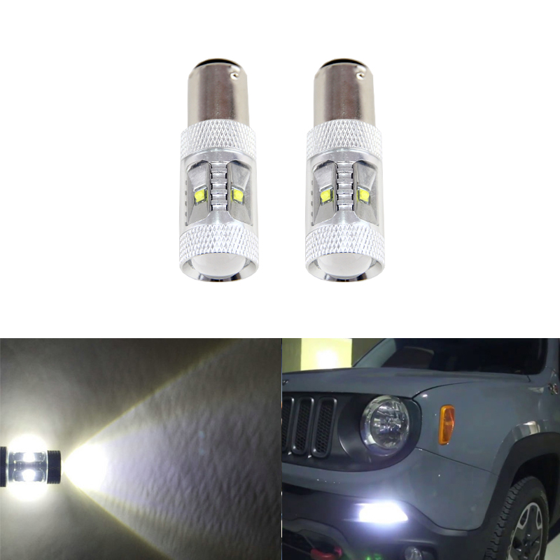 6500K Xenon White Led Daytime Running Lights Replacement Bulbs For Jeep Renegade 2015-Up Car-Styling Auto Driving DRL Bulb ijdm hid white 15 smd 3535 powered 3157 t25 led bulbs for daytime running lights drl for 2011 and up jeep grand cherokee 6000k