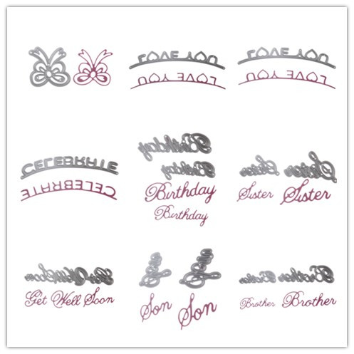 10 style metal steel letter brother birthday cutting dies stencil for diy scrapbooking album paper card