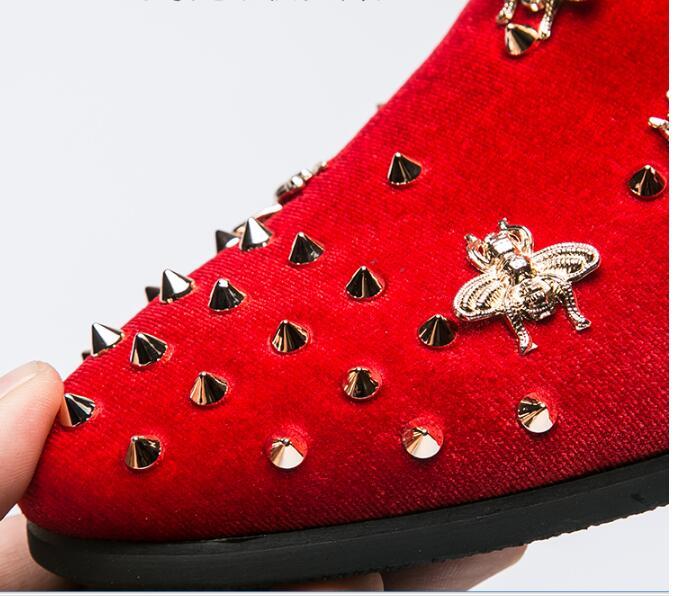 Mocassins rouge Daim En Adulto Parti Mariage Hommes Rivet La Tenis De Mâle Main Bal À Abeille Masculino Noir Robe Chaussures Funky wp1Rq7f