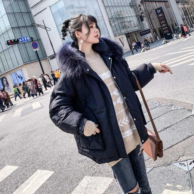 FTLZZ, новинка, Женское зимнее пальто, белый утиный пух, парки, большой натуральный меховой воротник, куртки с капюшоном, на молнии, средней длины, свободная верхняя одежда