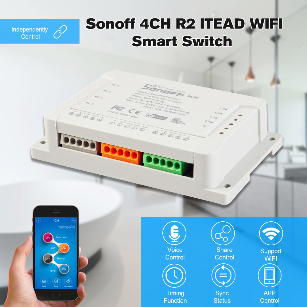 Access Control Sonoff 4ch R2 Itead 4 Channels Din Rail Mounting Wireless Wifi Smart Switch Works With Amazon Alexa & For Google Home/nest Access Control Kits