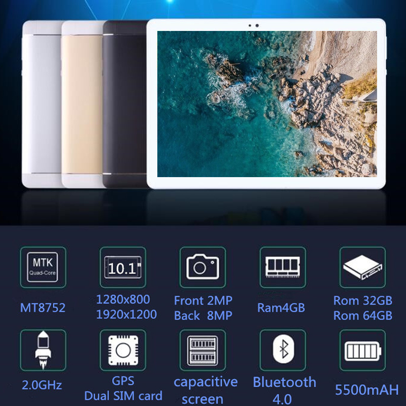 10.1 «Comprimés C108 8 Octa Core 32 gb 64 gb ROM Google Android 7.0 10 Tablet PC 3g 4g LTE FDD TDD WIFI GPS bluetooth téléphone MT8752