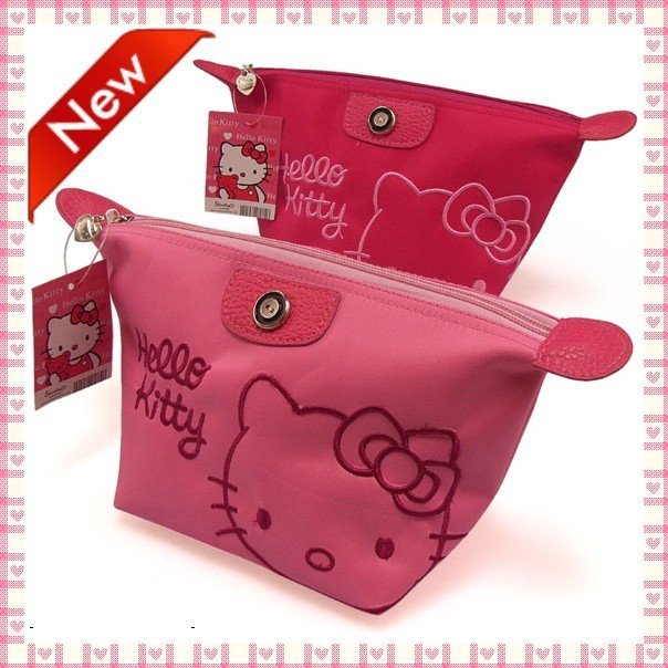 Free shipping! New arrival hello kitty pu makeup bags,lady cosmetic bags,28*14*11cm,color red pink,wholesale,20pcs/lot