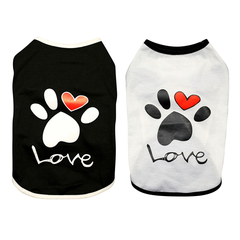 Dog Cat Dogs Clothes Summer Cotton Vest T Shirt With Paw Printed Heart Love Design Coat Pet Puppy Summer Apparel Clothes