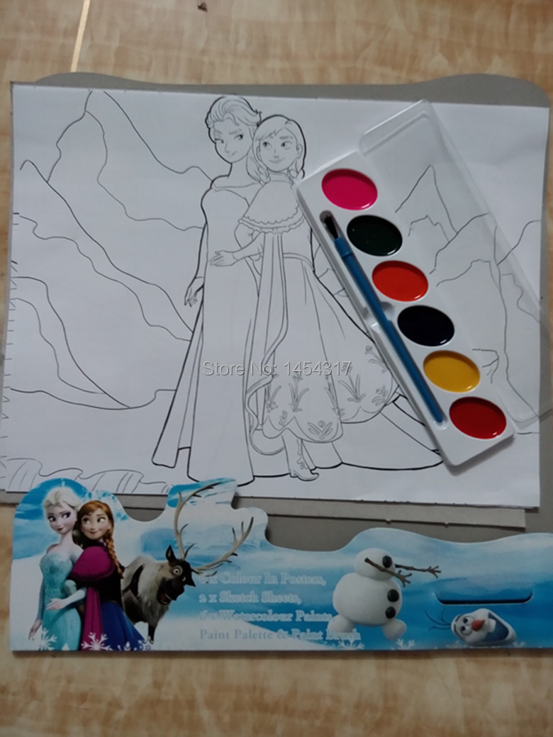 Online coloring with paint brush - Aliexpress Com Buy Free Shipping Frozen Poster Art Set Children S Educational Coloring Book W H Paint Brush Kid S Learing Educational Drawing Toy From