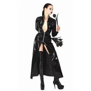 Image 3 - Fantasia sexy de couro feminino, vestido gótico com aparência molhada de pvc falso látex recarregado sexy halloween unissex